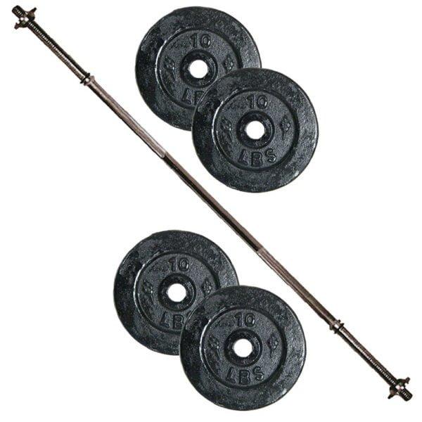 Pesas Con Barra Recta 150 Cm Y 40 Lbs En Discos Negros Gym
