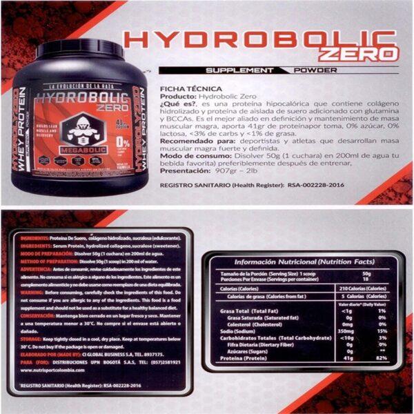 Proteina Hydrobolic Zero Constructor y Reparador de Musculo 2 Lbs